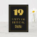 "[ Thumbnail: 19th Birthday ~ Art Deco Inspired Look ""19"" & Name Card ]"
