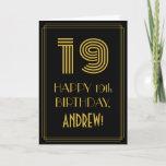 "[ Thumbnail: 19th Birthday: Art Deco Inspired Look ""19"" & Name Card ]"