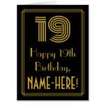 "[ Thumbnail: 19th Birthday: Art Deco Inspired Look ""19"" + Name Card ]"