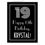 "[ Thumbnail: 19th Birthday — Art Deco Inspired Look ""19"" + Name Card ]"