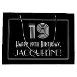 "[ Thumbnail: 19th Birthday — Art Deco Inspired Look ""19"" & Name Gift Bag ]"
