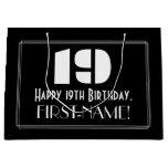 "[ Thumbnail: 19th Birthday ~ Art Deco Inspired Look ""19"" + Name Gift Bag ]"