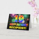 [ Thumbnail: 19th Birthday: Bold, Fun, Fireworks, Rainbow 19 Card ]