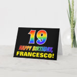 [ Thumbnail: 19th Birthday: Bold, Fun, Simple, Rainbow 19 Card ]