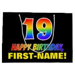 [ Thumbnail: 19th Birthday: Bold, Fun, Simple, Rainbow 19 Gift Bag ]