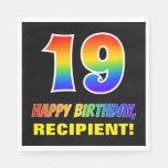 [ Thumbnail: 19th Birthday: Bold, Fun, Simple, Rainbow 19 Napkins ]