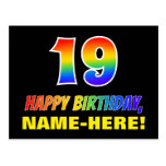 [ Thumbnail: 19th Birthday: Bold, Fun, Simple, Rainbow 19 Postcard ]
