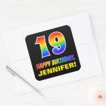 [ Thumbnail: 19th Birthday: Bold, Fun, Simple, Rainbow 19 Sticker ]
