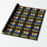 [ Thumbnail: 19th Birthday: Bold, Fun, Simple, Rainbow 19 Wrapping Paper ]