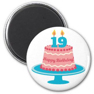 19th Birthday Cake Magnet