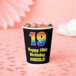 [ Thumbnail: 19th Birthday: Colorful, Fun, Exciting, Rainbow 19 ]