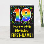 [ Thumbnail: 19th Birthday: Colorful Music Symbols + Rainbow 19 Card ]