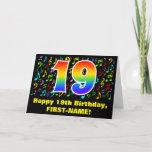 [ Thumbnail: 19th Birthday: Colorful Music Symbols & Rainbow 19 Card ]