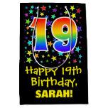 [ Thumbnail: 19th Birthday: Colorful Stars Pattern & Rainbow 19 Gift Bag ]