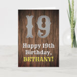 [ Thumbnail: 19th Birthday: Country Western Inspired Look, Name Card ]