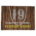 [ Thumbnail: 19th Birthday: Country Western Inspired Look, Name Gift Bag ]