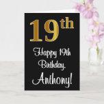 [ Thumbnail: 19th Birthday ~ Elegant Luxurious Faux Gold Look # Card ]