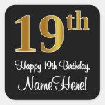 [ Thumbnail: 19th Birthday – Elegant Luxurious Faux Gold Look # Sticker ]
