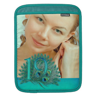 19th birthday elegant peacock feather photo sleeve sleeves for iPads