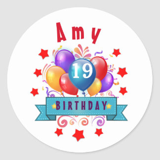 19th Birthday Festive Balloons and Red Stars 106Z Classic Round Sticker