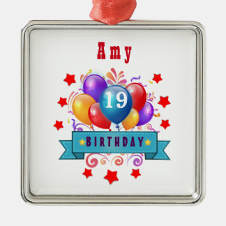 19th Birthday Festive Balloons and Red Stars 106Z Square Metal Christmas Ornament