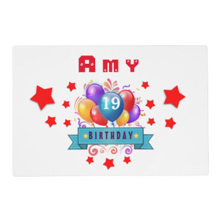 19th Birthday Festive Balloons and Red Stars 106Z Placemat