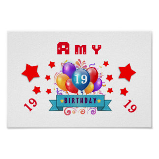 19th Birthday Festive Balloons and Red Stars 106Z Poster