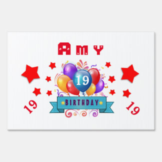 19th Birthday Festive Balloons and Red Stars 106Z Sign