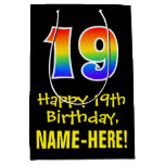 "[ Thumbnail: 19th Birthday: Fun, Bold, Colorful, Rainbow ""19"" Gift Bag ]"