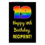 [ Thumbnail: 19th Birthday: Fun, Colorful, Happy, Rainbow # 19 Card ]