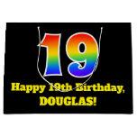 [ Thumbnail: 19th Birthday ~ Fun, Colorful, Vibrant, Rainbow 19 Gift Bag ]