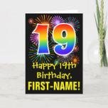 [ Thumbnail: 19th Birthday: Fun Fireworks Pattern + Rainbow 19 Card ]
