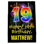 [ Thumbnail: 19th Birthday: Fun Fireworks Pattern + Rainbow 19 Gift Bag ]