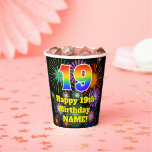 [ Thumbnail: 19th Birthday: Fun Fireworks Pattern + Rainbow 19 ]