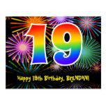 [ Thumbnail: 19th Birthday – Fun Fireworks Pattern + Rainbow 19 Postcard ]