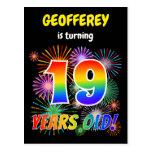 "[ Thumbnail: 19th Birthday - Fun Fireworks, Rainbow Look ""19"" Postcard ]"