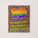 [ Thumbnail: 19th Birthday: Fun Graffiti-Inspired Rainbow 19 Jigsaw Puzzle ]