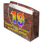 [ Thumbnail: 19th Birthday: Fun, Graffiti-Inspired Rainbow # 19 Gift Bag ]