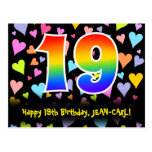 [ Thumbnail: 19th Birthday: Fun Hearts Pattern, Rainbow 19 Postcard ]