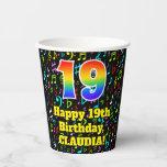 [ Thumbnail: 19th Birthday: Fun Music Notes Pattern, Rainbow 19 ]