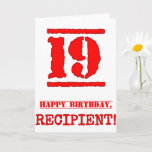 [ Thumbnail: 19th Birthday: Fun, Red Rubber Stamp Inspired Look Card ]