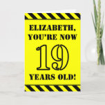[ Thumbnail: 19th Birthday: Fun Stencil Style Text, Custom Name Card ]