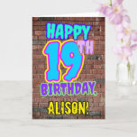 [ Thumbnail: 19th Birthday - Fun, Urban Graffiti Inspired Look Card ]