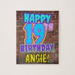 [ Thumbnail: 19th Birthday ~ Fun, Urban Graffiti Inspired Look Jigsaw Puzzle ]
