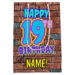 [ Thumbnail: 19th Birthday: Fun, Urban Graffiti Inspired Look Gift Bag ]
