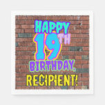[ Thumbnail: 19th Birthday ~ Fun, Urban Graffiti Inspired Look Napkins ]
