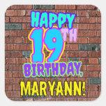 [ Thumbnail: 19th Birthday – Fun, Urban Graffiti Inspired Look Sticker ]
