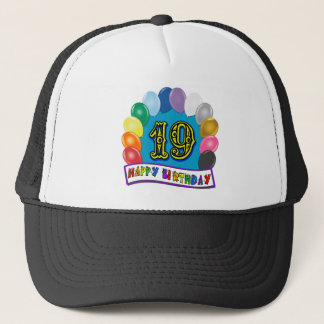 19th Birthday Gifts with Assorted Balloons Design Trucker Hat