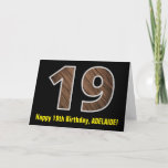 "[ Thumbnail: 19th Birthday: Name + Faux Wood Grain Pattern ""19"" Card ]"