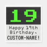 """[ Thumbnail: 19th Birthday - Nerdy / Geeky Style """"19"""" & Name Napkins ]"""
